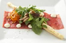 Course One: Certified Angus Beef® Brand Beef Carpaccio, Black Truffle Aioli, Cured Egg Yolk, Pickled Mushrooms, Crispy Shallots, Arugula, White Balsamic Truffle Gastrique, Smoked Sea Salt Grissini (Image from Competition Dining)