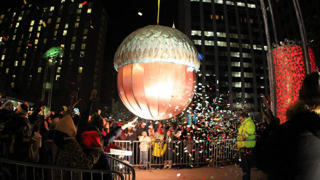 2014 First Night Raleigh, N.C. Revelers gather on Fayetteville St, in anticipation of the Acorn Drop and the celebration for bringing in the new year. (Chris Baird / WRAL Contributor)