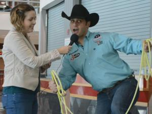 World's Toughest Rodeo announcer Anthony Lucia and Out and About editor Kathy Hanrahan