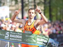 Marathon winner snaps the tape