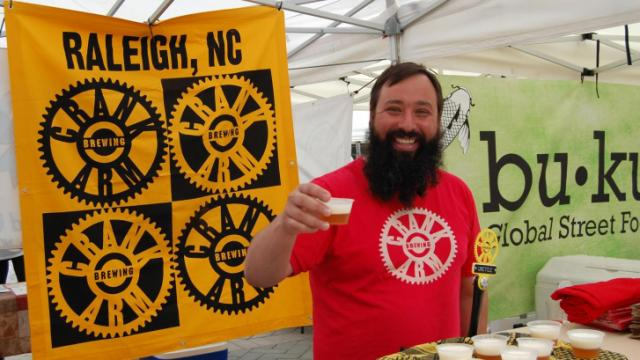 Crank Arm was on hand to serve samples of their craft beer at the Raleigh Downtown Farmers Market on May 7, 2014.