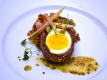 Course 2: Scotch Egg with Certified Angus Beef® Brand Bacon Blend Sausage, Chilled Barley Salad, Pickled Bass Farms Watermelon, Brüeprint Scotch & Lusty Monk Mustard Emulsion (Dean's) (Image from Competition Dining)