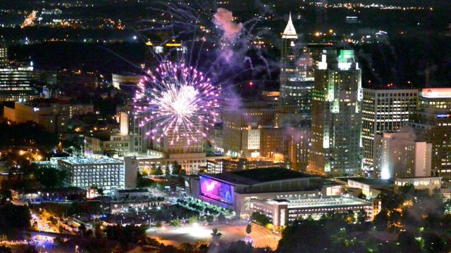 An aerial view of downtown Raleigh as fireworks light up the sky on July 4, 2014 in Raleigh, North Carolina. (Lance King/WRAL contributor)