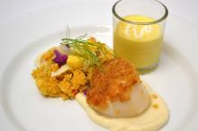COURSE 2 Kerala Curry Pappadam Seared Sea Scallop, Kerala Curry Vindaloo Curry Couscous, The Hillsborough Cheese Company Labneh Cauliflower Puree with Marinated Fennel, Mango Lassi with Labneh Crema & Nutmeg