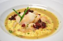 Course 1: Shrimp and Grits, 63°C NC Egg, Herbed Yellow Old Mill of Guilford Grits, Andouille Sausage, Cheerwine Crispy Bacon, Cheerwine BBQ Sauce