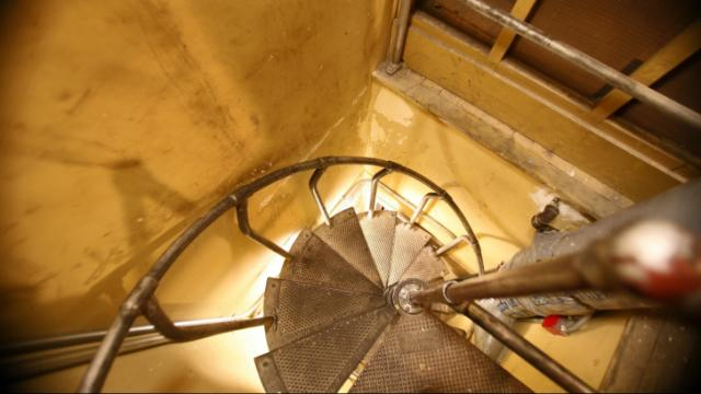 "This narrow spiral staircase leads to secret rooms in the House attic. Tour guide Tiffianna Honsinger, who gives behind-the-scenes tours of the State Capitol, says she warns visitors about the staircase: ""I like to tell people, 'If you're afraid of the dark or tight spaces, then you need to let me know because I'm going to find out in just a second.'"""