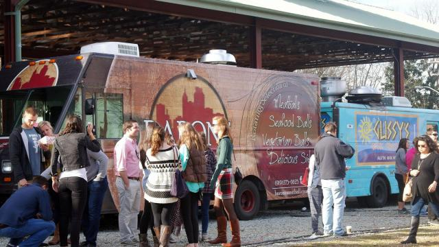 A variety of cuisines was on offer at the winter food truck rodeo Jan. 25, 2015, at Durham's Central Park.
