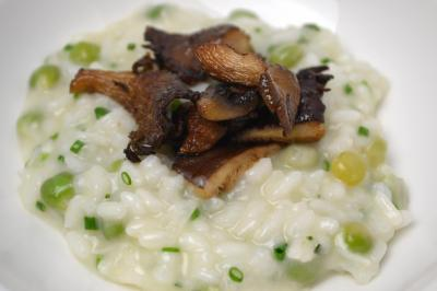 "Course one - ""Risi e Bisi"" Parmesan-Carnaroli Rice Risotto, Sunny Creek Farms Sprouted Peas, Grana Padano Cheese and Roasted Mushrooms"