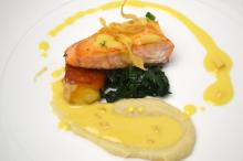 COURSE 2 Pink Lady Apple Scottish Salmon, Parsnip Mousseline, Sautéed Lacinato Kale, Perry Lowe Orchards Apple Beurre Blanc
