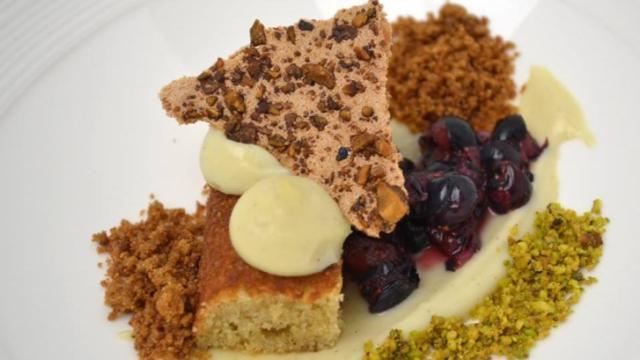 Course 5 - Buttermilk Cake Meringue, Carbonated-Pickled North Carolina Blueberries, High Rock Farm Chestnut Flour Crumble, White Chocolate Cream