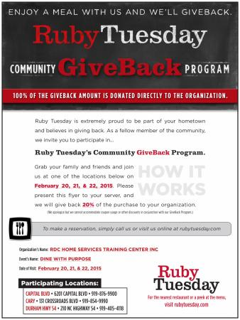 Ruby Tuesday Community GiveBack Program