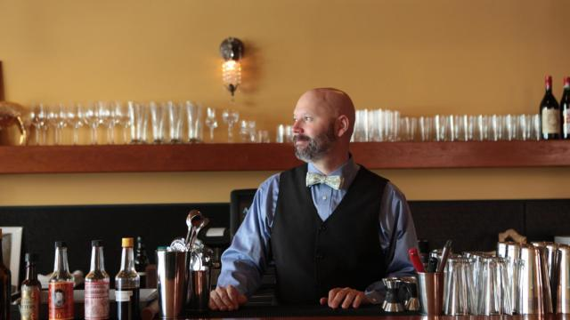 Shannon Healy is owner and bartender of Alley Twenty-Six in downtown Durham. (Briana Brough for Durham Magazine)