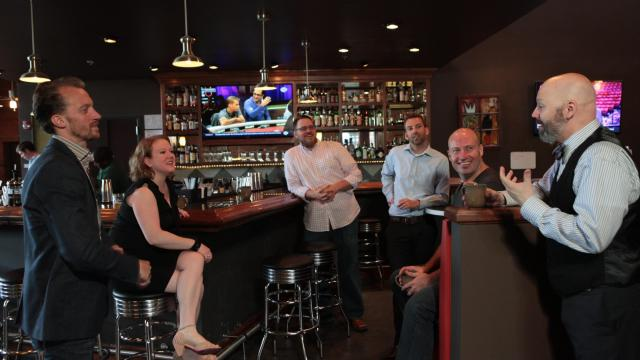 Fred Dex, formerly of Straw Valley Food & Drink and now of Rx Wine Lab, Olivia Gray of Revolution, Brad Weddington of Nana's, Crawford Leavoy of Piedmont, Tim Neill of Bar Lusconi and Peccadillo, and Shannon Healy of Alley Twenty Six. (Photography by Briana Brough, Durham Magazine)