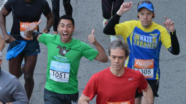 The Raleigh Rock 'n' Roll Marathon took off Sunday morning on April 12, 2015. Thousands of competitve and casual runners came out to Downtown Raleigh to participate in the annual event. (Photo By: WRAL Contributor)