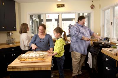 Chef James Clark, of Carolina Crossroads at The Carolina Inn, at home with his family. (Photography by Kristin Prelipp, KPO Photo, for Durham Magazine)