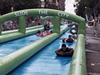 Slide the City takes over Glenwood Avenue