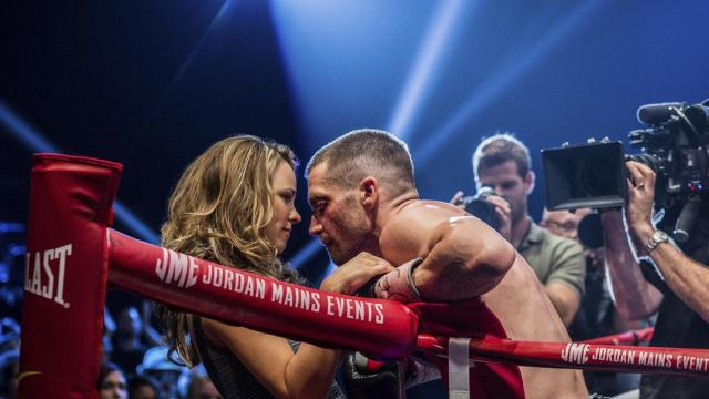 """This photo provided by The Weinstein Company shows, Rachel McAdams, left, as Maureen Hope and Jake Gyllenhaal as Billy Hope, in the film, """"Southpaw.""""  The movie releases in the U.S. on July 24, 2015. (Scott Garfield/The Weinstein Company via AP)"""