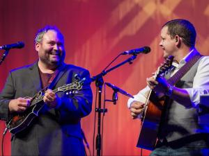 Darren Nicholson, pictured left, mandolin and Caleb Smith, guitar, of Balsam Range, perform in Ballroom A-B of the Raleigh Convention Center, Oct. 2, 2015.