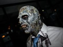 Hundreds of participants gathered for the 2015 Raleigh Zombie Walk parade in downtown Raleigh, on Oct. 24, 2015.
