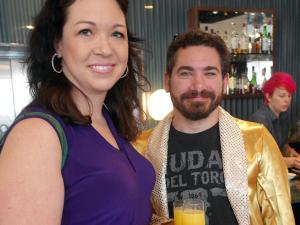 Diners Chris Klotschkow and Joanna Gaughan at disco brunch broke out their sparkly best.