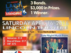 Last Band Standing is April 16, 2016, at Lincoln Theatre.
