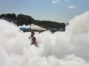 Kids cool off in foam pit at Destination Dix