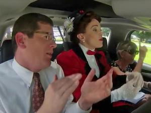 Fishel carpools with Mary Poppins, and both break into song