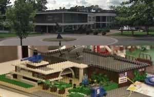At the top: A photograph of the WRAL Studios; Bottom: A LEGO construction of the property.