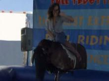 Erin Summers bull riding at the NC State Fair.