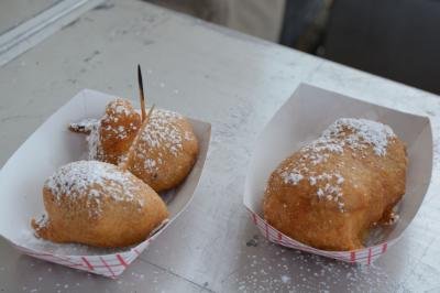 New at N.C. State Fair this year: Peanut butter cups wrapped in bacon then deep fried, and the Twinx (a Twix stuffed into a Twinkie, covered in bacon then deep fried)