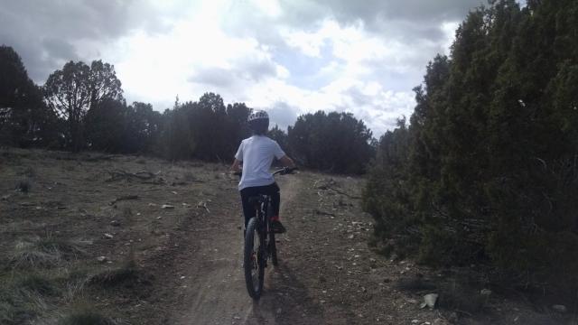 Anderson mountain bikes while mom Arianne runs behind. (Deseret Photo)