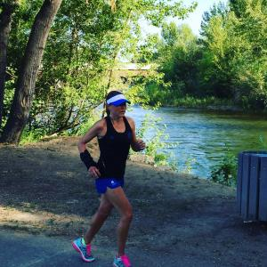 Kim Cowart takes her arm cast out for a run on her 41st birthday. (Deseret Photo)