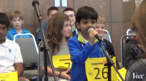 """Competing against spellers twice his age, six-year-old Akash Vukoti was eliminated from the 2016 Scripps National Spelling Bee on Wednesday when he misspelled """"bacteriolytic"""" in Round 3 but there is little question that the future is bright for Vukoti. (Deseret Photo)"""