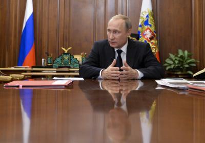 Russian President Vladimir Putin meets with Moscow mayor Sergei Sobyanin and Culture Minister Vladimir Medinsky in the Kremlin in Moscow, Russia, Thursday, July 7, 2016. (Alexei Druzhinin/Sputnik, Kremlin Pool Photo via AP) (Deseret Photo)