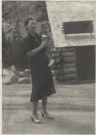 Fleeta Choate stands with one of her sons in the early 1940s. (Deseret Photo)