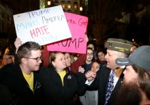 Donald Trump supporters and protesters argue outside the Infinity Event Center after Donald Trump spoke in Salt Lake City on Friday, March 18, 2016. (Deseret Photo)