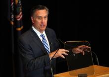 Former Gov. of Mass. Mitt Romney addresses the Hinckley Institute of Politics regarding the 2016 presidential race at the University of Utah in Salt Lake City on Thursday, March 3, 2016. (Deseret Photo)