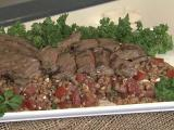 Skirt steak over Farro salad