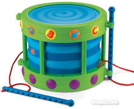The U.S. Consumer Product Safety Commission announced the recall of this toy drum made by Step2 in April 2010.
