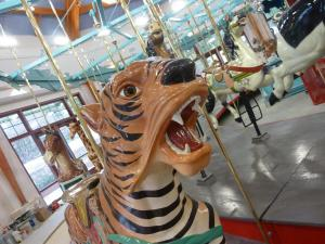 An animal on Pullen Park's restored carousel