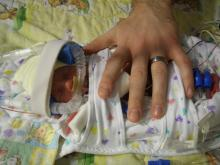 Daddy's hand for size comparison.