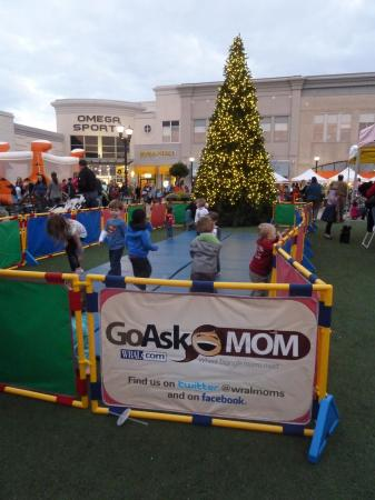 Go Ask Mom sign at North Hills during its annual tree lighting ceremony.
