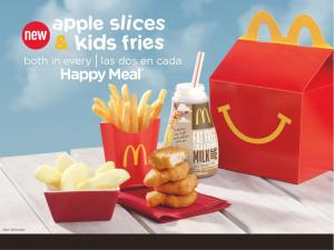 A healthier Happy Meal will include both fries and apple slices.
