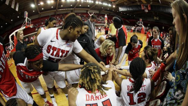 N.C. State women's basketball team in huddle. Credit: NC State Athletics