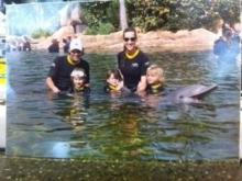 Lynda and family at Discovery Cove, Orlando