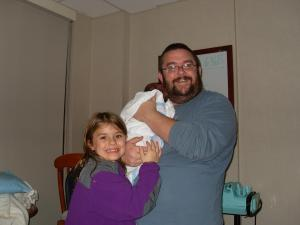 Mike Slawter, a Raleigh stay at home dad with his daughters.