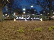 Holiday Express sign at Pullen Park