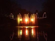 Lights set to music at a fountain at Pullen Park