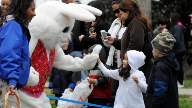 Easter Bunny greeting the kids! (Photo by Jerrell Jordan)