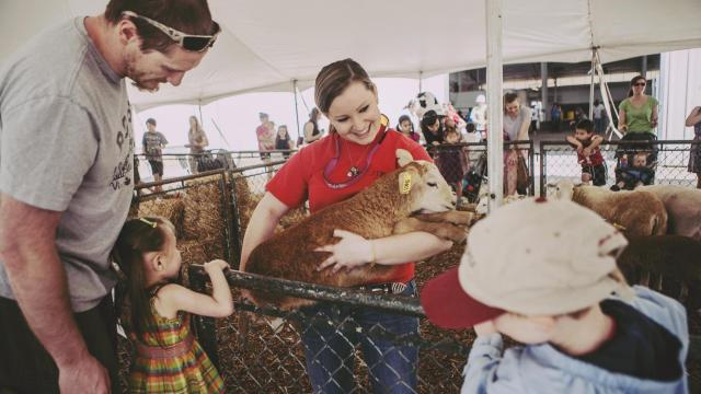 Kelli Wingfield holds a 2 month old sheep for children to pet at the NC State Farm Animal Days 2013, held on April 10-12. Wingfield, a grad student, worked the event as a part of her animal science club.